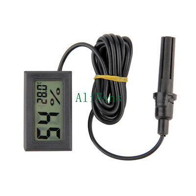 Black Thermometer Temperature Humidity Hygrometer Sensor LCD Display &Probe