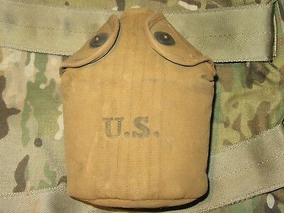 1.8# Authentic WWI WW1 Early WWII WW2 U.S 1918 M1910 Canteen Cover Carrier Pouch
