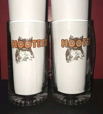 Set of two (2) Hooters Large Beer Mugs 24oz very heavy glass