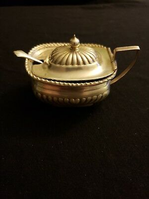 Antique sterling silver sugar bowl w/ original cobalt blue insert and tiny spoon