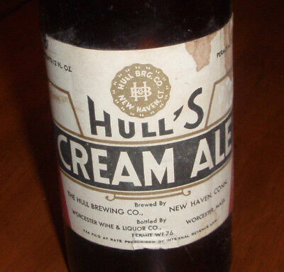 1930's HULLS CREAM ALE paper label beer bottle New Haven Conn IRTP Brewing CT