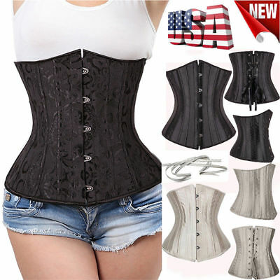 5e695d1f3c Underbust Waist Training Corset Top Gothic Black Boned Bustier Plus Size  S-6XL