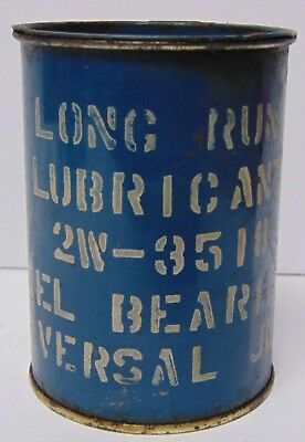 Old Antique Vintage 1950s BLUE STENCIL STENCILED LETTERING OIL CAN LONG RUN LUBE