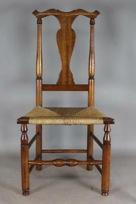 Rare 18Th C Woodbury Ct Queen Anne Side Chair In Cherry And Ash Great Early Form
