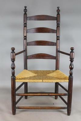 A Very Rare 17Th C Ct Pilgrim 4 Slat Ladderback Armchair Best Old Grungy Surface