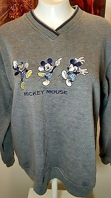 Vintage Gray Mickey Mouse Medium Sweatshirt Unlimited By Jerry Leigh Unisex vnec
