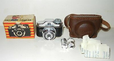 Vintage Mini Crystar Camera Japan W/ Leather Case & Box Near Mint