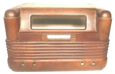vintage PHILCO 42-350 TABLE TOP RADIO part:  WOOD SHELL w/ FACEPLATE & AERIAL