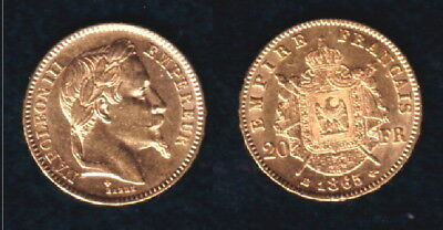 1865-A  France Gold 20 Francs  Emperor Napoleon III LUSTROUS  CLASSIC OLDER Coin