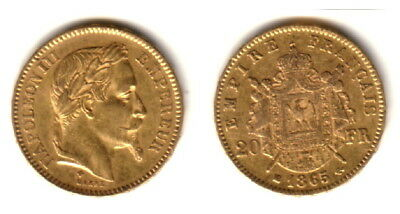 1865-BB France Gold 20 Francs  Emperor Napoleon III LUSTROUS  CLASSIC OLDER Coin