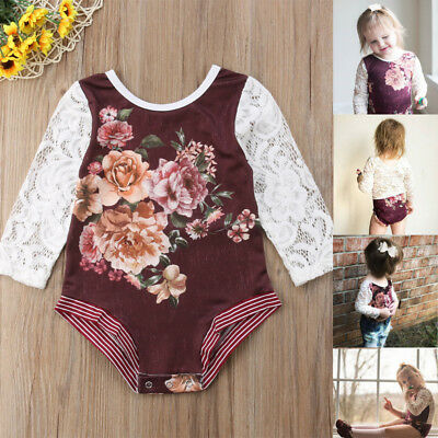 Newborn Infant Baby Girl Long Sleeve Romper Bodysuit Jumpsuit Outfit Clothes USA