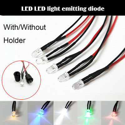 1/20/50 x 12V 5MM LED Diode Light Clear 20cm Cable Pre-Wired With Plastic Holder