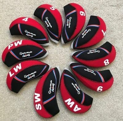 10PCS Black&Red Qualität Neoprene Taylormade M4 Golf Club Iron Covers HeadCovers