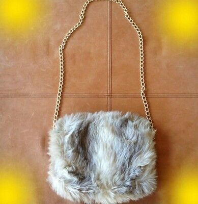 Vintage Faux Fur Muff European Styling Photo Prop Glamour Hand Warmer Gold Chain