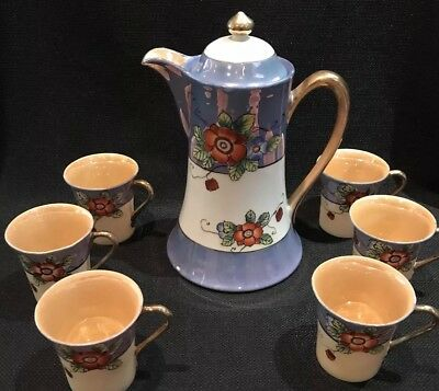 Vintage Japanese 7-piece Demitasse Set, Pot w/6 Cups  (Circa 1940's)