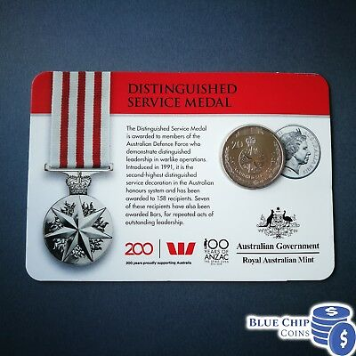 2017 20C Legends Of The Anzacs - Distinguished Service Medal Coin On Card