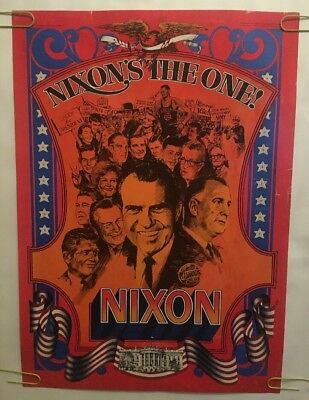 Nixon's The One Original Vintage Political Poster Pin-up US Politics 1970's USA
