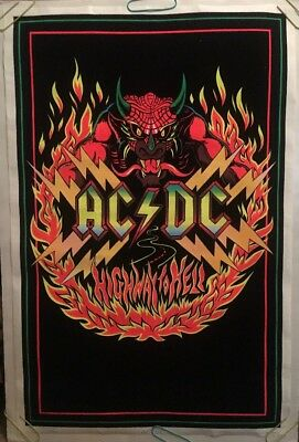 AC/DC Original Vintage Blacklight Poster Highway To Hell Pin-up Velvet Dragon 81