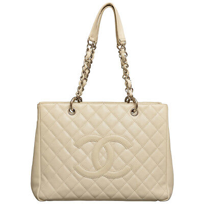 24a3f23c75b3 Authentic Chanel Caviar Leather Grand Shopping Tote Bag (GST) - Off White   Cream