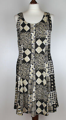 Ladies Dress UK 14 A-line Tied Retro Pattern Summer Casual Holiday Beach