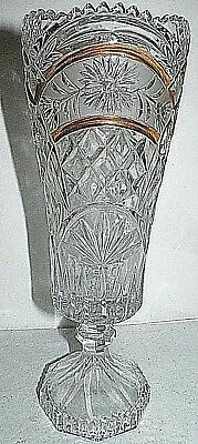 "Antique Vintage Hand Cut Lead Crystal Clear Vase Gold Bronze Accent 11.5"" Tall"