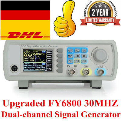 Upgraded FY6800 30MHZ Dual-channel Arbitrary Waveform Source Signal Generator DE
