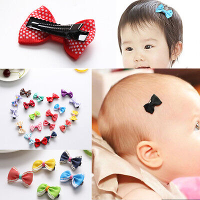 20x Kids Baby Girl's Bow Ribbon Hair Bow Hair Clip Mini Alligator Clips Hairpins