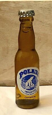 """Advertising - 3"""" - Mini - POLAR IMPORTED BEER - Brown Glass Bottle - Argentina"""