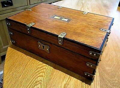 Victorian Solid Oak Campaign Box/document Box,m.o.p.brass Fittings,red Lined Int