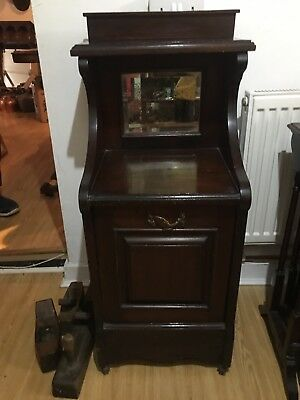 Antique Coal Cupboard Cabinet / Scuttle Purdonium Wooden / Shoe Rack