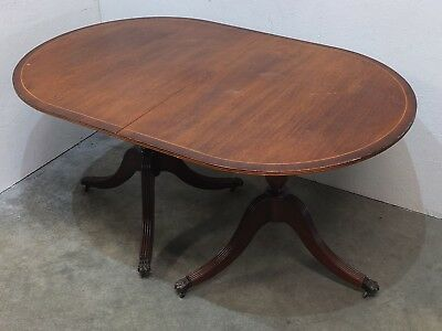Antique Regency Style Double Pedestal Tilt Top Dining Table Lion Claw Feet (49)