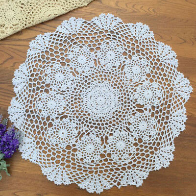 Vintage Hand Crochet Lace Doily Round Table Topper Small Tablecloth Countryside