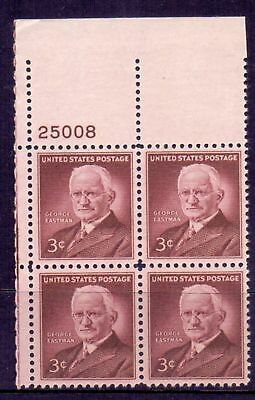 United States  1954  George Eastman with plate #, MNH.
