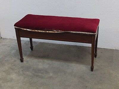 Edwardian Antique Inlaid Mahogany Piano Stool For Reupholster (50)