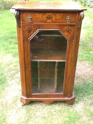 Antique Walnut Sheet Music / Display Cabinet Bookcase