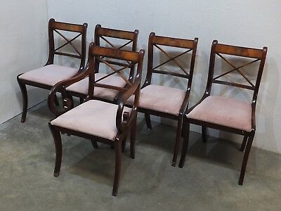 5x Antique Regency Style Mahogany Dining Chairs with Sabre Legs (52)
