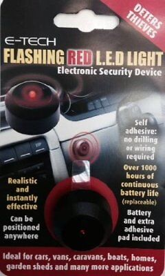 E-Tech Dummy Fake Flashing Red LED Light Car, Home, Caravan Security Theft Alarm