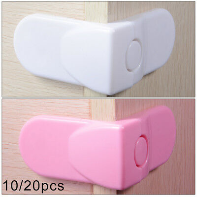 10/20pcs Child Adhesive Kid Baby Safety Drawer Door Angle Lock Cupboard Set New