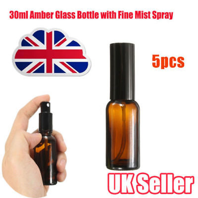 5PCS  30ml Amber Glass Bottles With Fine Mist Spray For Aromatherapy Perfume Y8