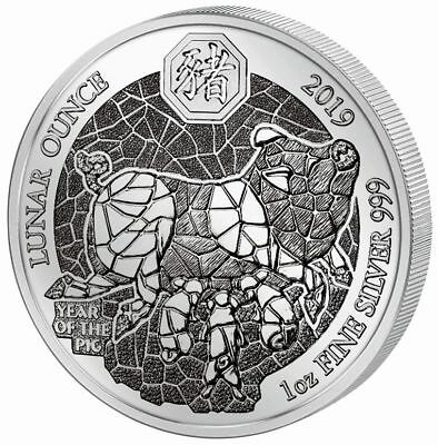 1 Ounce Silber Proof Lunar Year of the Pig Schwein Ruanda 2019 Silver Rwanda