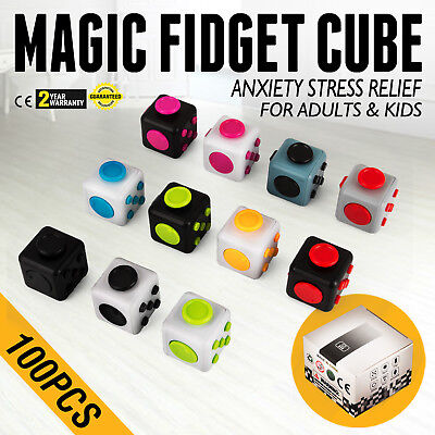100PCS Magic Fidget Cube Anxiety Stress Relief Gift Adult Kid AUTISM Great Spin