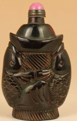 Big chinese old Yak Horn Hand Carved Fish Statue Snuff Bottle