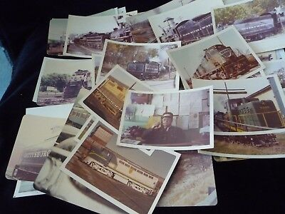 #930 vtg MIXED LOT of  40 TRAIN & TRAIN RELATED  PHOTO snap shot B&W  & Color