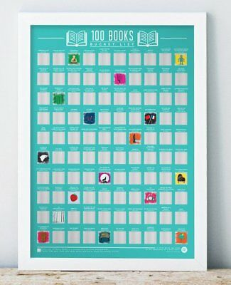 BUCKET LIST Scratch Off POSTER 100 BOOKS To Read A2