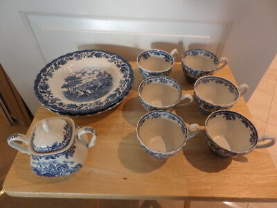 "Myotts ""country Life"" Blue And White China - Cups, Soup Plates, Covered Sugar"