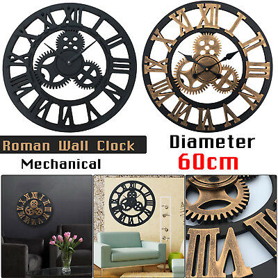 ROMAN WALL CLOCK TRADITIONAL VINTAGE ROMAN NUMERAL SKELETON Home Decor 60CM