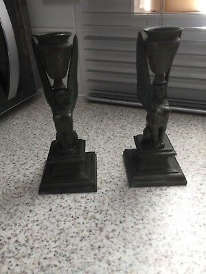 Pair Of Antique Tuscan Egyptian Sphinx Candlesticks