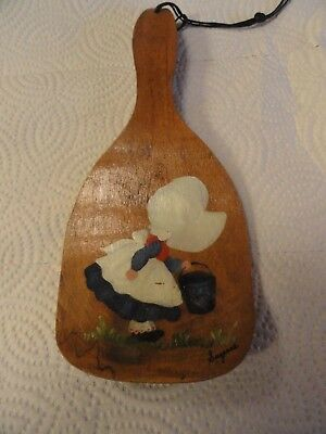 """CUTE Old Wooden Butter Paddle w/Hand Painted """"Sunbonnet Baby"""" Signed """"Suzanne"""""""