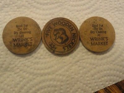 "3 Old ""Wrink's Market (Lebanon, Mo.) 25 Cent Dry Cleaning"" Wooden Nickels"