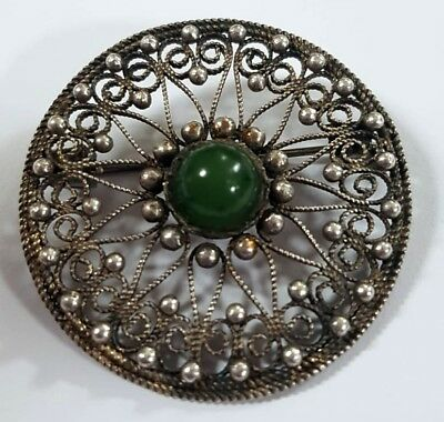 FABERGE Antique Imperial RUSSIAN BROOCH Filigree with Jade stone, 84 silver.